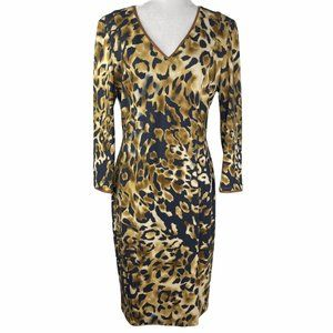 Escada Animal Print Wool Knee Length Dress 38/8/M